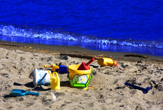 Toys on the beach. In Seaside Stock Photography
