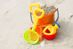 Toys on beach Royalty Free Stock Images