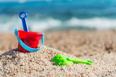 Toys at the beach Royalty Free Stock Photos