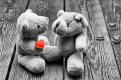 Toys bears in love. It is black the white toys bears in love Royalty Free Stock Photos