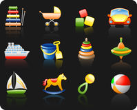 Toys_black background icon set Stock Photography