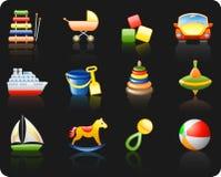Toys_black background icon set stock illustration