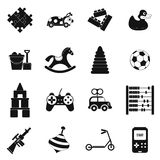Toys black simple icons set. Isolated on white background Royalty Free Stock Image