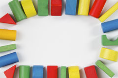 Toys blocks frame, multicolor wooden bricks Stock Photo