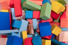 Toys blocks, multicolor wooden building brick stock images