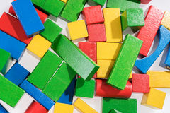 Toys blocks, multicolor wooden building bricks Royalty Free Stock Images