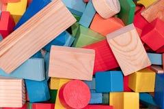 Toys blocks, multicolor wooden building brick stock photo