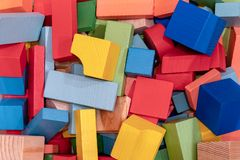 Toys blocks, multicolor wooden building brick stock photos