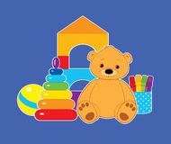 Toys on blue horizontal. Vector colorful illustration for children, toys on a blue background. Brown teddy bear, ball, blocks, felt tip pens and rainbow stacking Royalty Free Stock Image