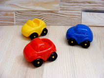 Baby toys blue red yellow cars Stock Photography