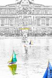 Toys boats in the pool in front of the Luxembourg Palace - Paris royalty free stock photos