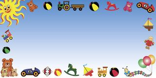 Toys border horizontal Royalty Free Stock Photos