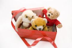 Toys in a box. Toys getting out from a red present box teddy bear and bunny Royalty Free Stock Image