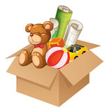 Toys in a box. Illustration of toys in a box on a white background Stock Image