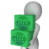 Toys Boxes Mean Presents For Children And Kids Stock Photos