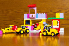 Toys for the boy. Bulldozer, tractor. Stock Images