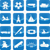 Toys for boy icon on blue button. Include gun, toy, car, jet, bow, tank, ball, ship Stock Images