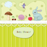 Toys. Bright baby shower with toys and fruits stock illustration