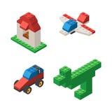 Toys built from plastic blocks Royalty Free Stock Photos