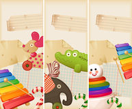 Toys, candy & childhood memories. Vertical banners Stock Photography