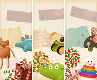 Toys, candy & childhood memories. Vertical banners Royalty Free Stock Image