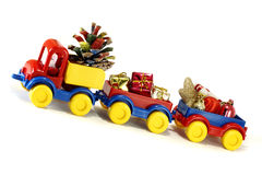 Toys, car-truck and Santa Claus with gift Royalty Free Stock Photo