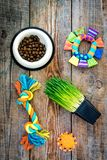 Toys for cat near dry food and grass in pot on wooden background top view Royalty Free Stock Images