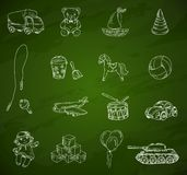 Toys chalkboard sketch set Royalty Free Stock Photos
