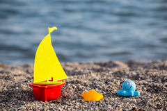 Toys, child, sea, beach, colorful. View of some colorful beach toys summer Stock Images