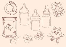 Toys and childcare. Set of vector sketches stock illustration