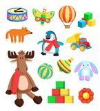 Toys for Children at Christmas Vector Illustration. Toys for children at Christmas eve produced at Santa Claus factory in North Pole, reindeer and fox, penguin Royalty Free Stock Image