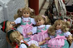 Toys for children. Dolls in a toy shop.  royalty free stock photography
