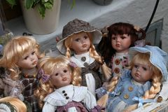 Toys for children. Dolls in a toy shop.  stock photography