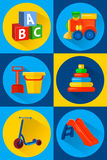 Toys for children icons flat. Cartoon style. Vector illustration toys for children icons flat vector illustration