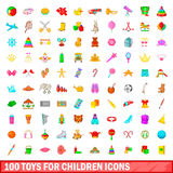 100 toys for children icons set, cartoon style Royalty Free Stock Photography