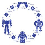 Toys for children: robots, remote control, cubes. Design for banner, poster or print Royalty Free Stock Photos