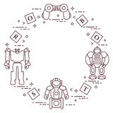 Toys for children: robots, remote control, cubes. Design for banner, poster or print royalty free illustration