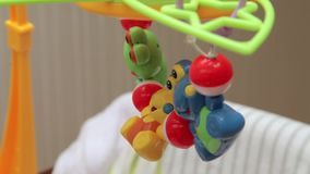 Toys on children's bed stock footage