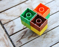 Toys. Children's plastic cubes for the game in vibrant colors Royalty Free Stock Photo
