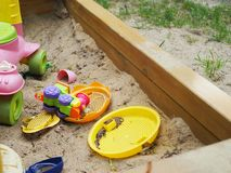 Toys for children in the sandbox royalty free stock photos