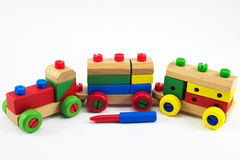 Toys for children. Wooden train toys, Brain development, Skills Preschool Royalty Free Stock Photography