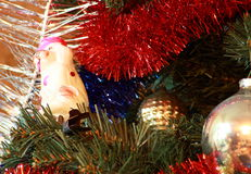 Toys on christmas tree firtree Royalty Free Stock Images