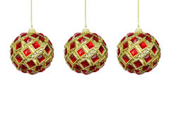 Toys for the Christmas tree, red-yellow balls on a white backgro Stock Photo