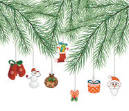 Toys on Christmas tree vector Royalty Free Stock Image