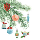 Toys on Christmas tree vector Royalty Free Stock Photography