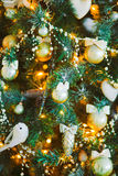Toys on the Christmas tree. Winter background Royalty Free Stock Photography