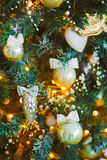 Toys on the Christmas tree. Winter background Royalty Free Stock Photo