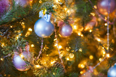 Toys on the Christmas tree. Winter background Royalty Free Stock Photos