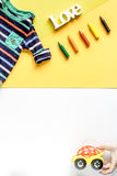 Toys and clothes collection for child room top view mockup Stock Photos