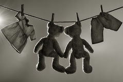 Toys on clothes line. Toned image Stock Image